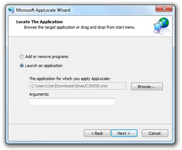 Selecting an application in the AppLocale wizard