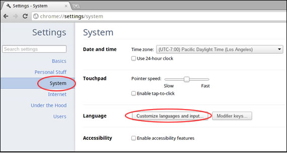 Chrome OS Settings > System > Language > Customize languages and input