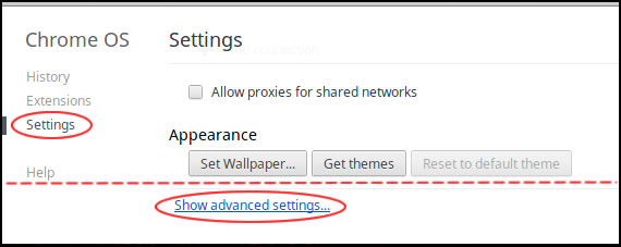 Chrome OS Aura settings page