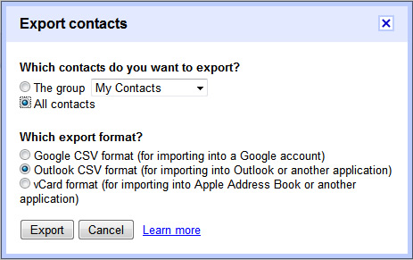 Gmail Contacts export dialog box