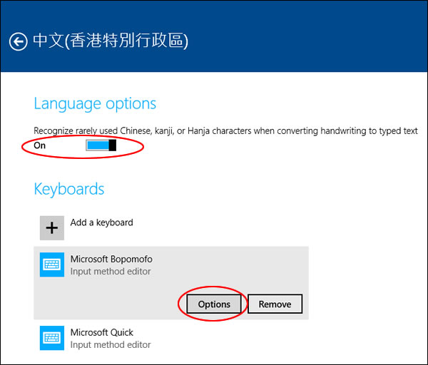 Win 8 TC language options