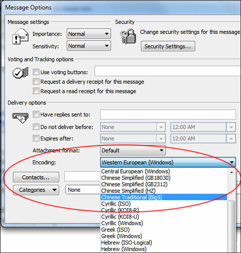 Outlook message encoding options