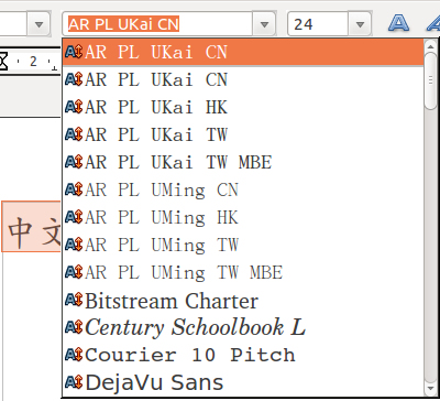 OpenOffice Chinese fonts in Ubuntu - Arphic song and kai