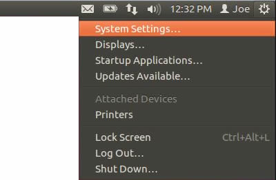 Ubuntu 12 Settings menu