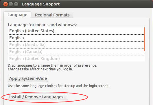 Ubuntu Language Support panel
