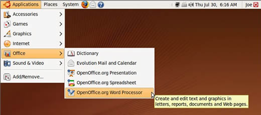OpenOffice on Ubuntu Application Menu