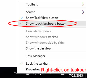 Enabling touch keyboard button on taskbar