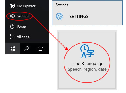 Win 10 Settings - Time and Langauge