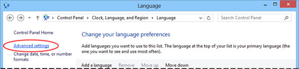 Windows 8 language control panel - Advanced settings