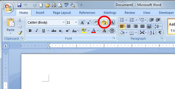 Phonetic Guide button in Word 2007