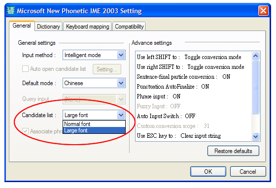 Changing the candidate list font size in Microsoft New Phonetic 2003