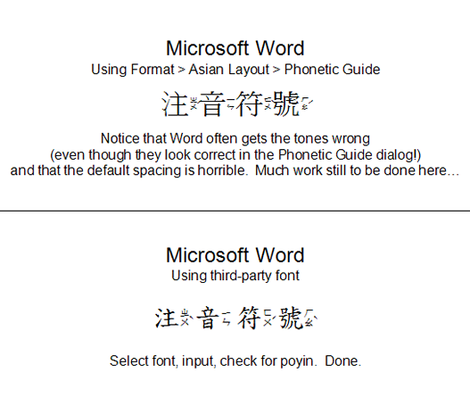 Comparison of Word Asian Layout ruby characters with a third-party font
